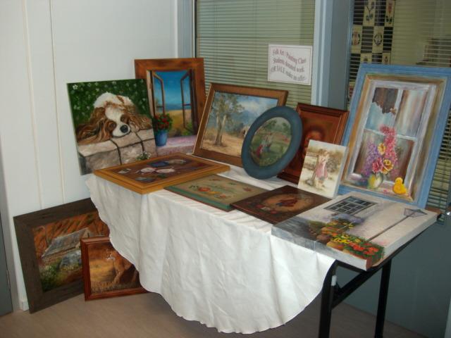 Paintings on display.